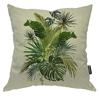 Astonishing Moslion Palm Leaf Throw Pillow Case Tropical Forest Botanical Palm Tree Green Banana Leaves Pillow Cover Decorative Square Cushion Accent Cotton Linen Ocoug Best Dining Table And Chair Ideas Images Ocougorg