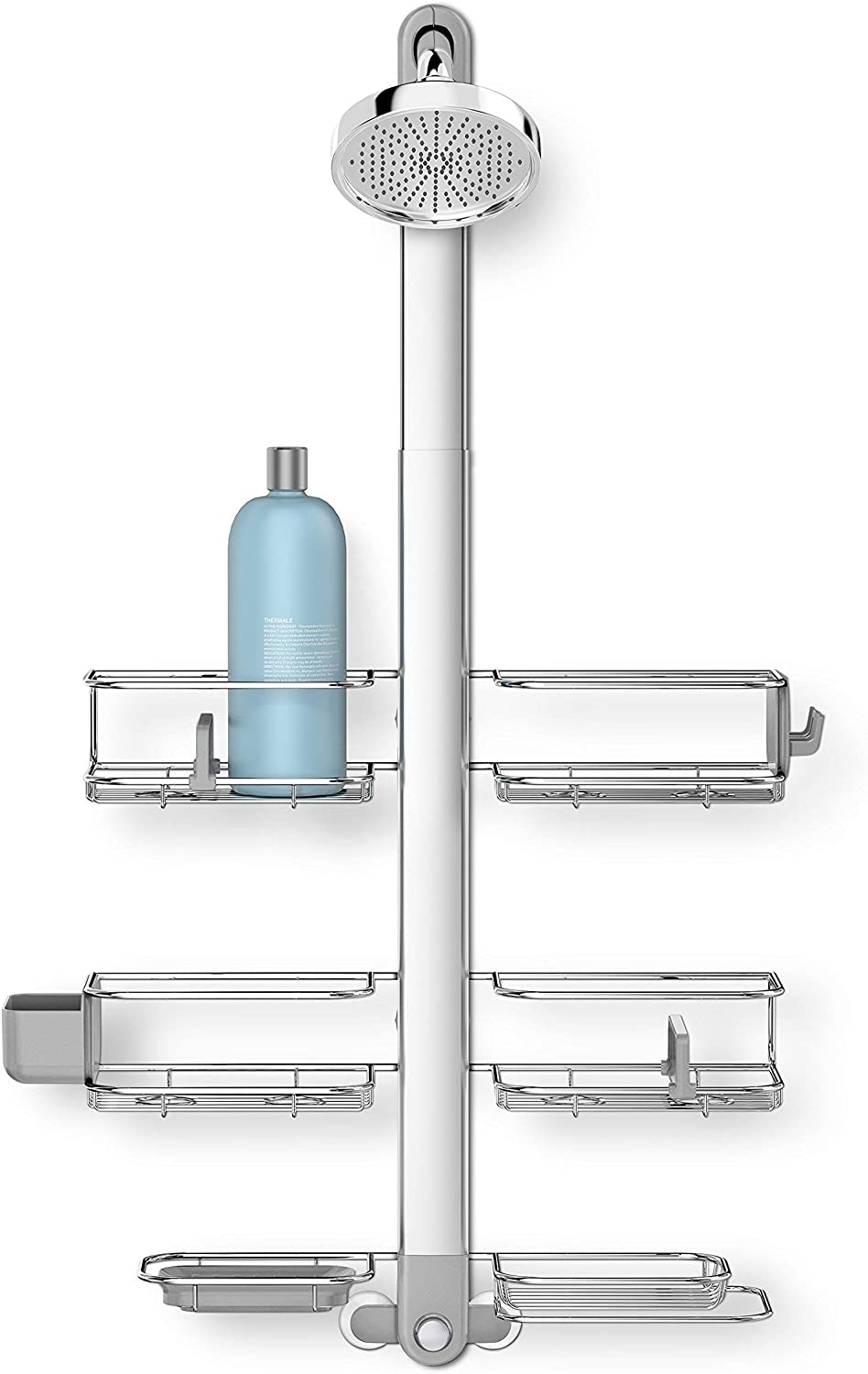 simplehuman Adjustable Shower Caddy XL, Stainless Steel + Anodized Aluminum (Renewed)