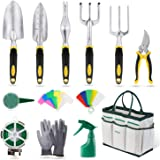 YISSVIC Garden Tools Set 12 Pieces Heavy Duty Gardening Kit cast Aluminum with Soft Rubberized Non-slip Handle,Durable Storag