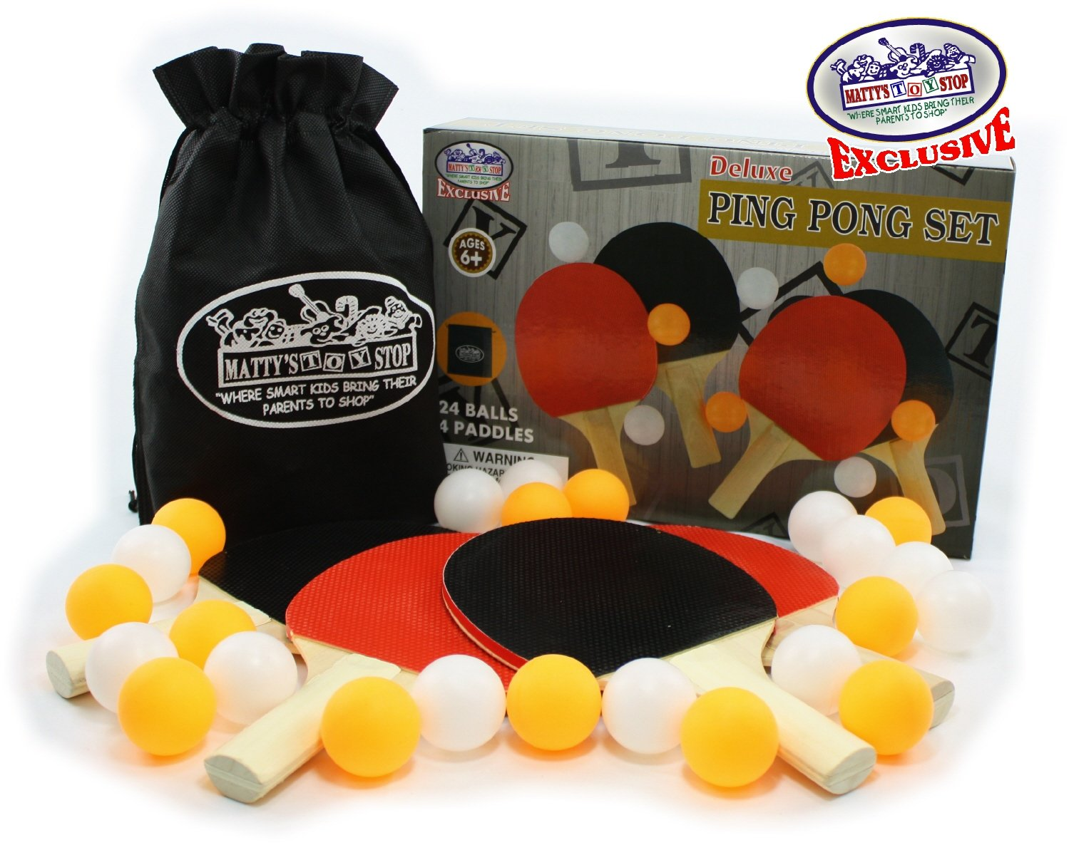 12 Orange /& 12 White 24 Balls Ping Pong Mattys Toy Stop Deluxe Table Tennis Refill Set with 4 Paddles /& Storage Bag Homeware