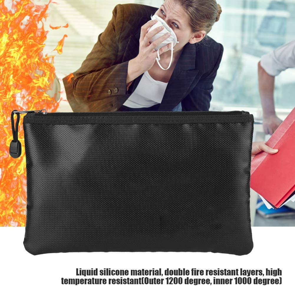 Fireproof Document Bag Waterproof Envelope Bag Pouch Briefcase Fire-resistant Passport Money Laptop Keeping Safe Storage Bag with Zipper for Valuables 27 x 16cm