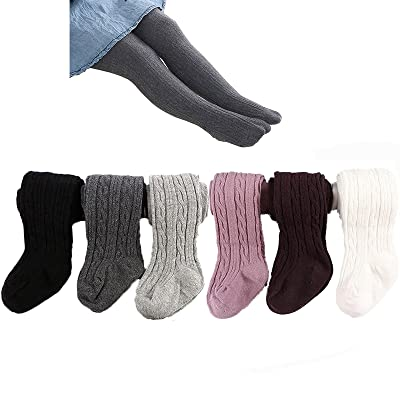 6 Pairs Baby Toddler Girls Cable Knit Tights Cotton Warm Leggings