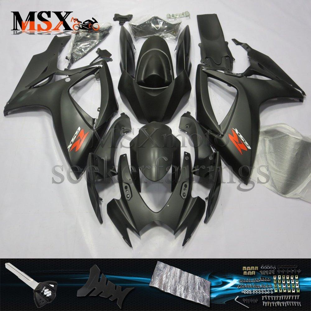 MSX-moto 適応ホンダ Suzuki GSXR600 GSXR750 K6 GSX-R600 GSX-R750 06 07 GSXR 2006 2007年 小R 外装パーツセット ABS射出成型完全なオートバイ車体 黒/ブラックのボディ   B07F25WQL7