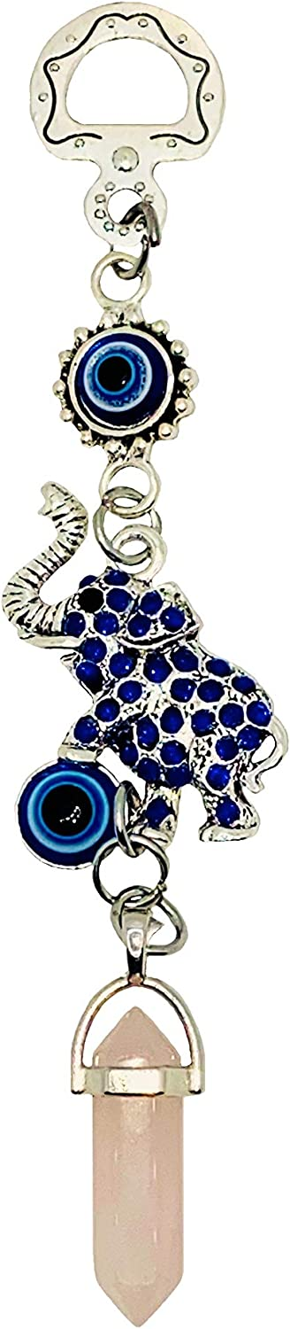 LUCKBOOSTIUM Happy Elephant Pendant Wall Hanging Decor with Lucky Blue Evil Eye & Pink Crystal Gemstone - Home Decor Protection, Good Luck Charm for Car Mirrors, Best Gift Idea for Your Loved Ones