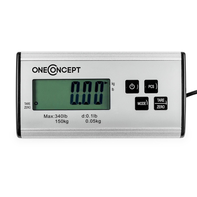 oneConcept Marketee balanza digital para paquetes 150kg 27x27 cm (Báscula digital de precisión, intervalos de 50gr, función conteo y tara, ...