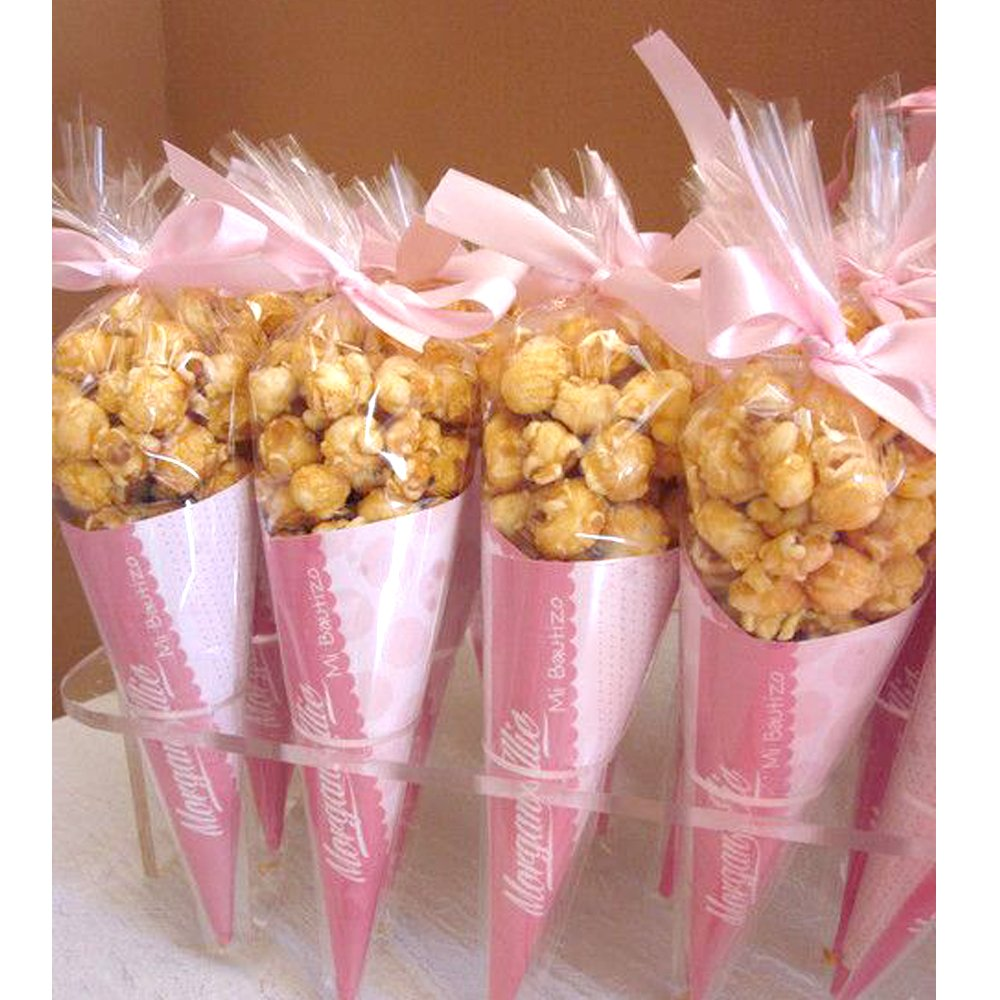 Amazon.com: Tomnk 150 PCS Cone Shaped Treat Bags Clear Candy Bags ...