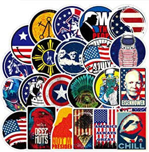 100Pcs American Flag Trump 2020 Stickers Water Bottle Hydroflask Laptop Hardhat Skateboard Computer Phone Patriotic USA Independence Day 4th of July Vinyl Sticker Waterproof Decal for Teens Adults