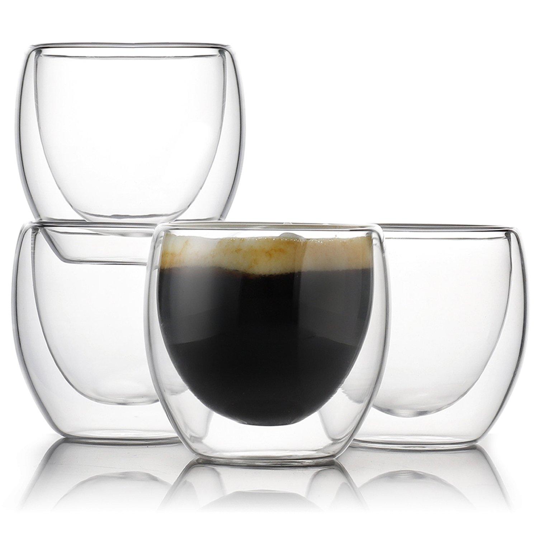 Teocera Espresso Cups Shot Glass Coffee Set of 4-2.7 oz Borosilicate Glass Coffee Mug, Clear and Durable Double Walled Mug Sets with Insulation, Good for Espresso Coffee, Tea, Beverage