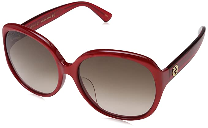 b63981957ce Image Unavailable. Image not available for. Color  GUCCI 0080 Oversized Red  Pearl Gradient Fashion Sunglasses Women