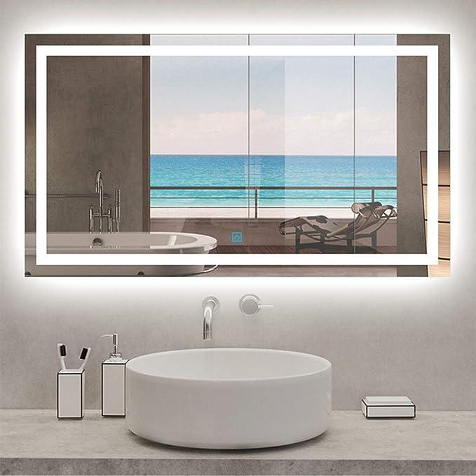 AICA SANITARIOS Espejo de baño 100x60 cm Espejo led - Interruptor Táctil - Función Anti-Niebla - Frío Blanco (6000K) - Espejo de Pared - Espejo con iluminación: Amazon.es: Hogar