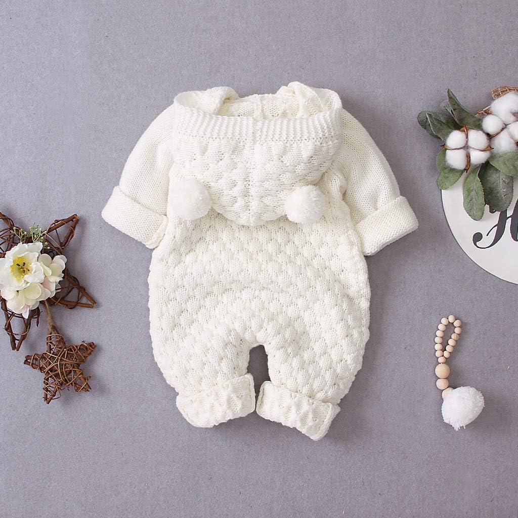 QXLhxuIo Baby-Strickoverall mit Kapuze Neugeborenes Baby Jungen M/ädchen Winter Warmer Mantel Strickoverall mit Kapuze einfarbigen Pullover Overall 3-24 Monate