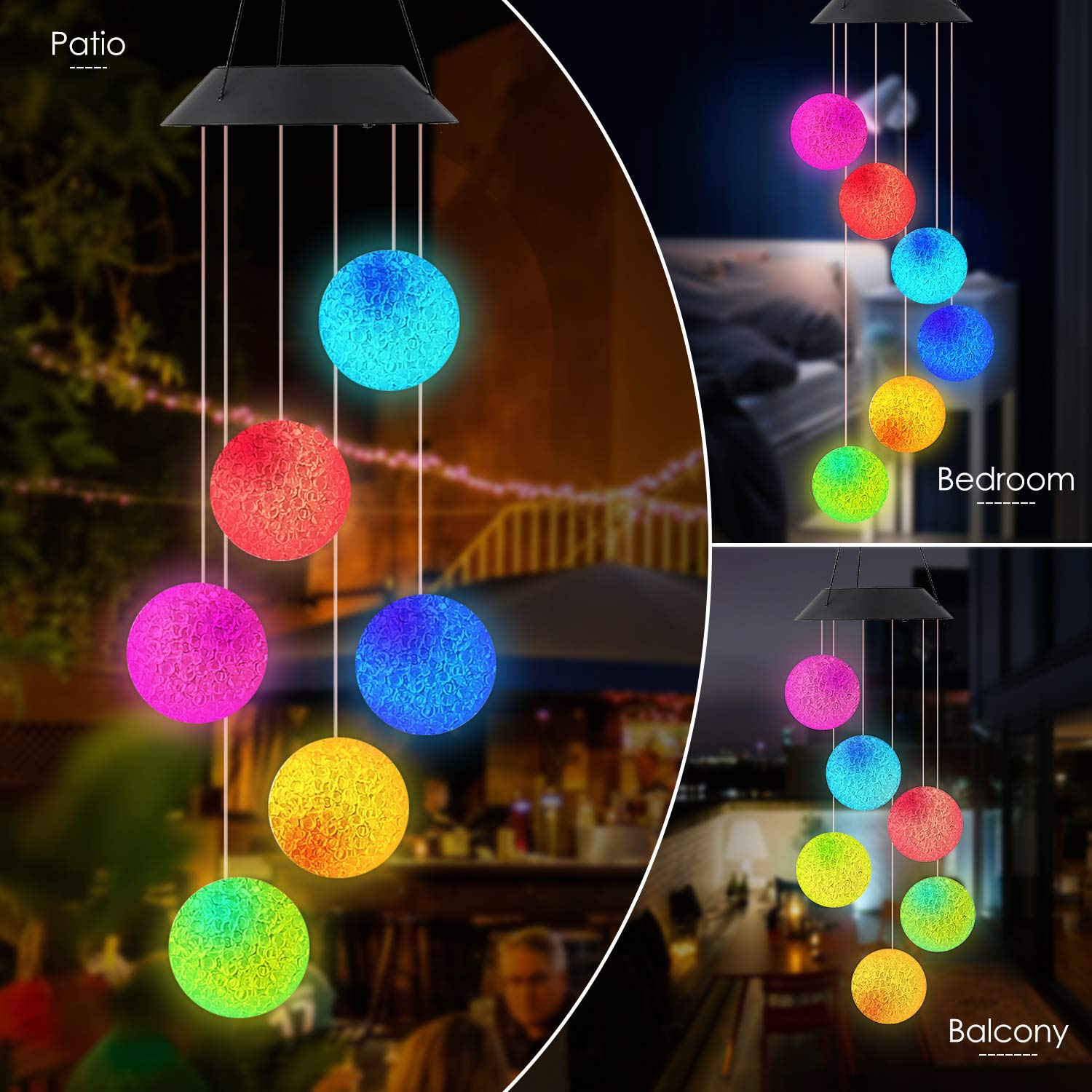 Wind Chime Outdoor Color-Changing Waterproof Mobile Romantic Led Solar Powered Crystal Ball Wind Chimes Lights for Home, Indoor, Yard, Patio, Night Garden, Party, Valentines Gift, Festival Decor