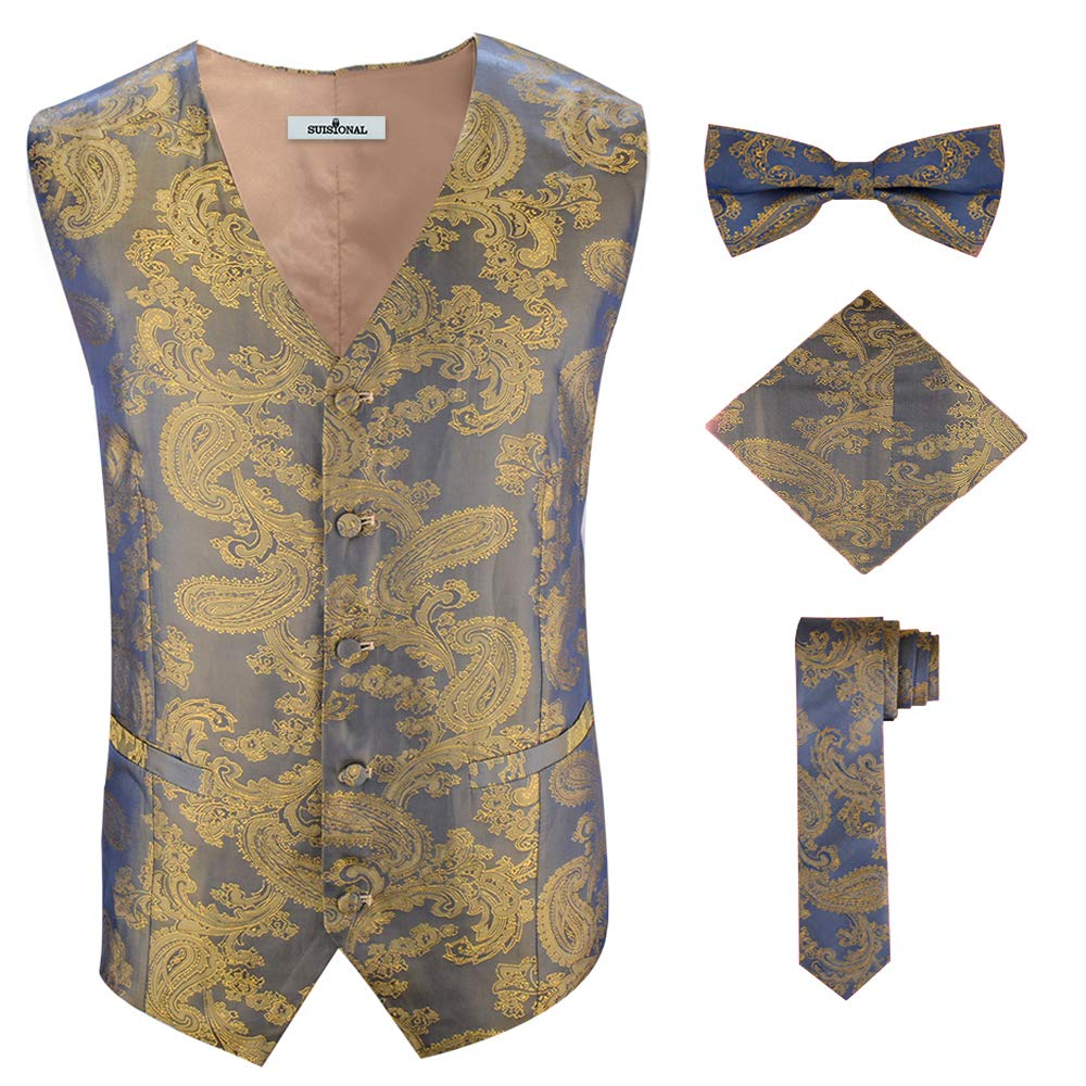 Men's 5 Button Custom Stylish 5X Gold Brocade Tuxedo Vest Big Tall Size,Gold,5XL by SuiSional