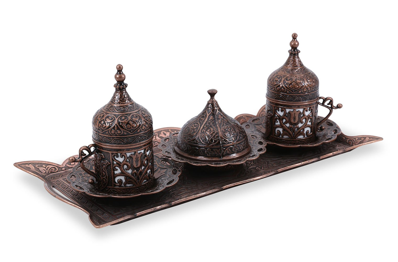 Traditional Design Brass Cast Turkish Armenian Arabic Greek Coffee Set Espresso Set Tea Set for Two-(CS2-215)