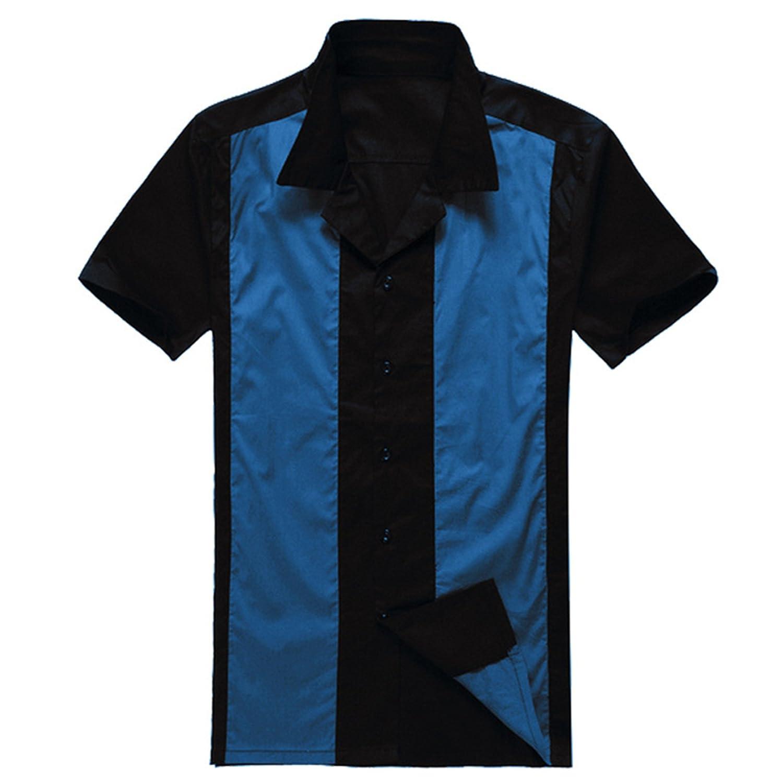 Allonly Mens Hip Hop Punk Short Sleeve Cotton Shirt Color Block Button Down Shirt