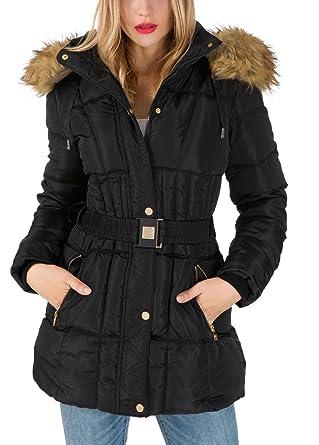AKD Doudoune Femme Capuche Fausse Fourrure Ceinture Amovible Longue Manteau Hiver Veste Parka Blouson Chaud Jacket Noir