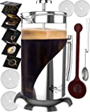 French Press Coffee Maker - 34 Oz, Large - The Only Encapsulated 304 Stainless Steel Lid NOT Plastic - 4 Level Filtration System & Double German Glass<br /><br />