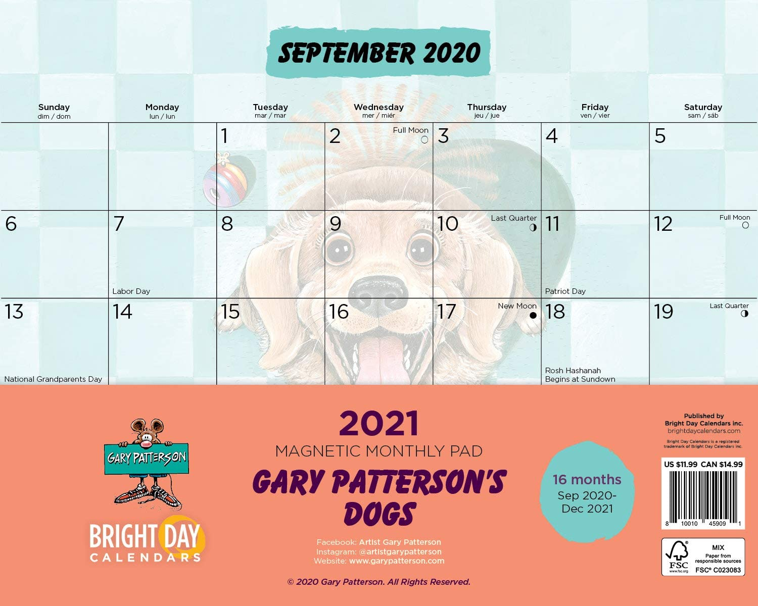 2021 Magnetic Refrigerator Calendar Gary Patterson Wall Calendar Pad by Bright Day, 16 Month 8 x 10 Inch (Dogs)
