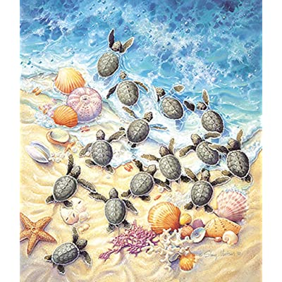 SUNSOUT INC Green Turtle Hatchlings 550 pc Jigsaw Puzzle: Toys & Games