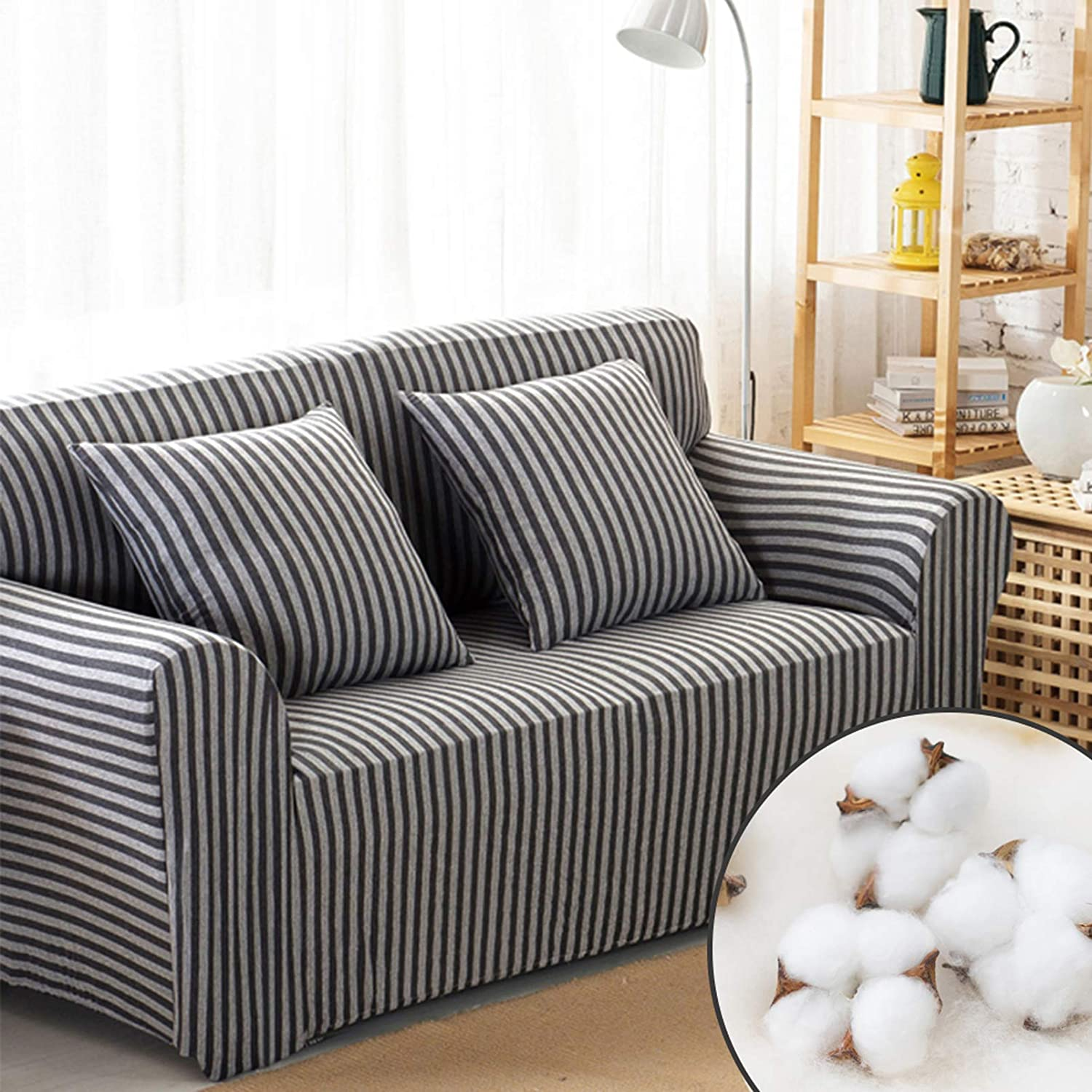 Homcosan Stretch Sofa Slipcovers Cotton Pattern Stripe Sofa Cover with 2 Pillowcases for 2 Cushion Couch Furniture Pet Protector Anti-Slip Stylish Sectional Couch(Gray, Loveseat)