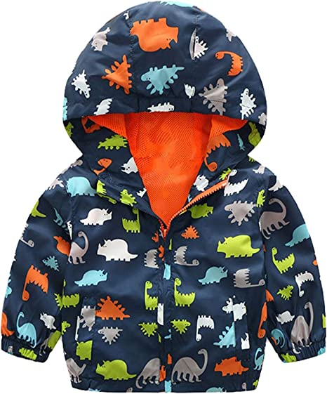 Anxinke Little Boys Dinosaur Pritned Zipper Pockets Jackets