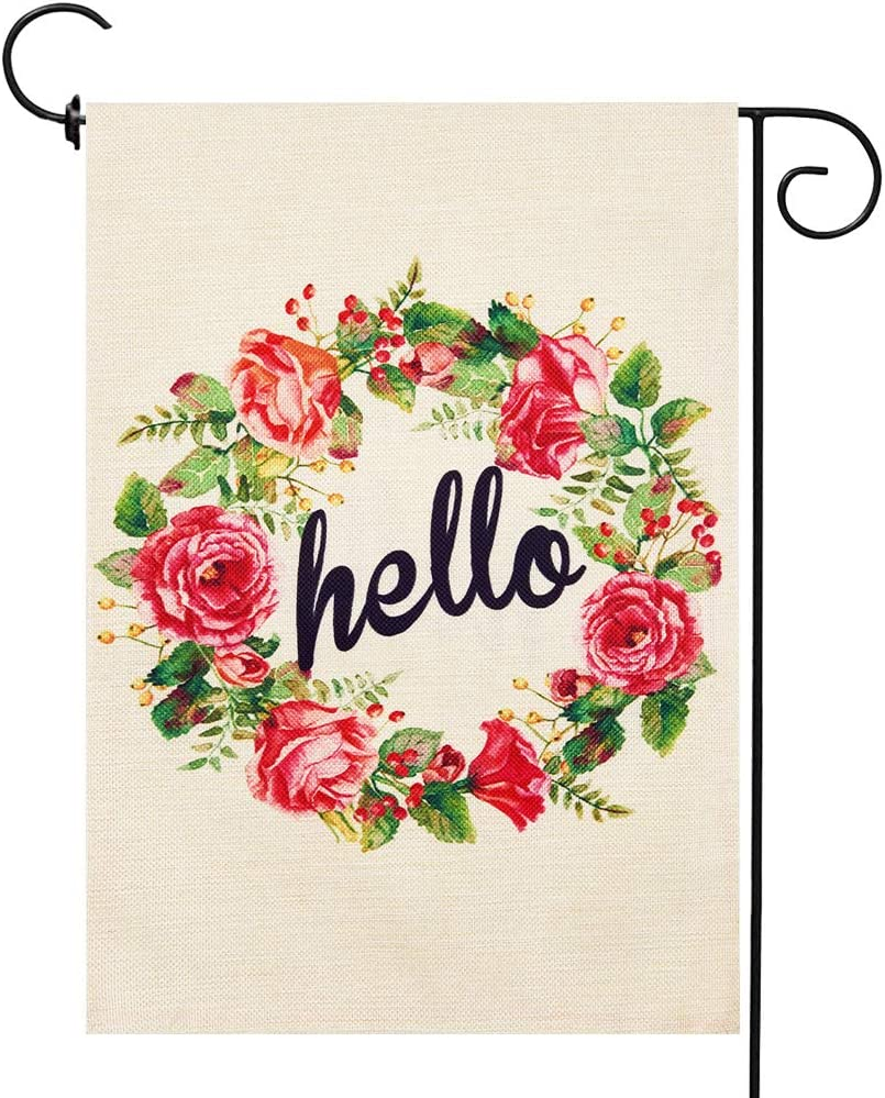 Welcome Garden Flags Spring Rose Flag Small Double-sided Linen Outdoor Decoration 12.5 x 18 inches