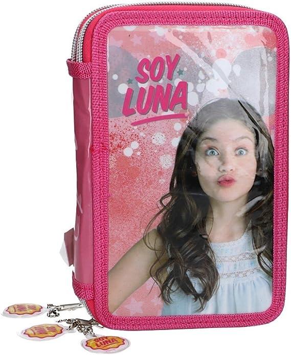 Soy Luna Estuche Lápiz caso de la escuela triple rosa 3 zip VZ584: Amazon.es: Ropa y accesorios
