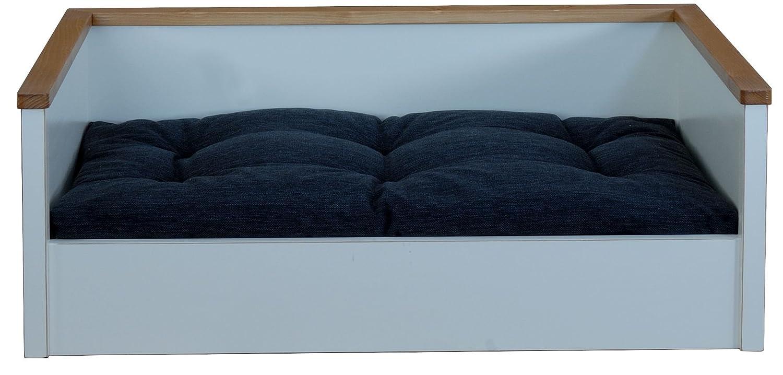 hundekorb hundebett aus holz mit kissen gr sse xl farbe weiss g nstig kaufen. Black Bedroom Furniture Sets. Home Design Ideas