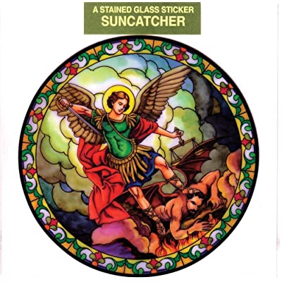 St. Michael Window Decal, Reusable Vinyl Suncatcher, Stained Glass Design: Everything Else