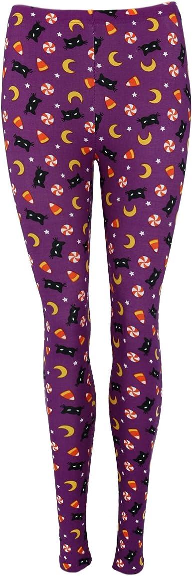 just one - Leggings para Mujer, diseño de Gato y maíz, Color Negro Morado Morado (L: Amazon.es: Ropa y accesorios