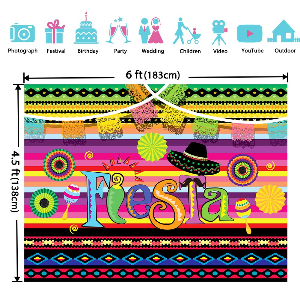 Fiesta Theme Photography Backdrop Mexican Themed Dress-up Photobooth for Summer Fiesta Luau Theme Cinco De Mayo Birthday Pool Party Supplies Decorations by TMCCE (Image #2)