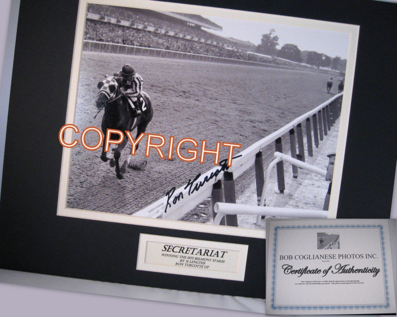 Iconic Secretariat Ron Turcotte Double Mat 1973 Belmont Photo Triple Crown Win Hand Sined Voted the Greatest Horse Racing Photo of All Time