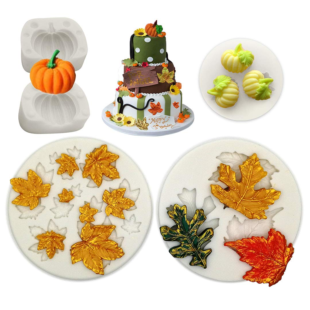 Pumpkin Maple Leaves Mold-YAWOOYA Fall Fondant Molds Silicone for Fall Harvest Thanksgiving Halloween Cake Decorations Mold Chocolate Candy Clay Tools by YAWOOYA