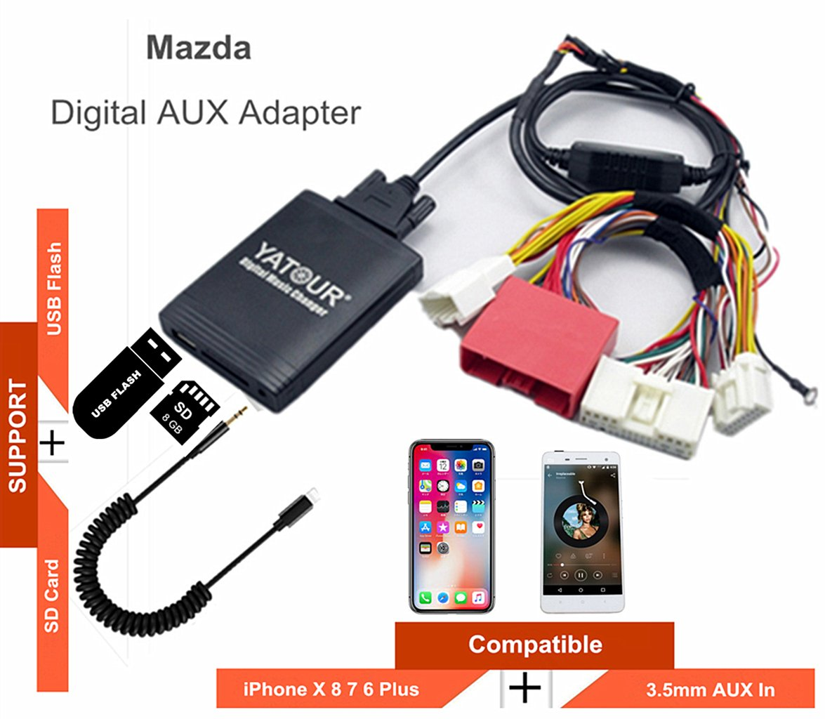 New Mazda Stereo AUX Adapter, Digital Car Audio Input Interface with SD Card, MP3 USB, 3.5mm AUX in, Music Player for Mazda 2009-2012 (M06-MAZ2) by Hongruibo
