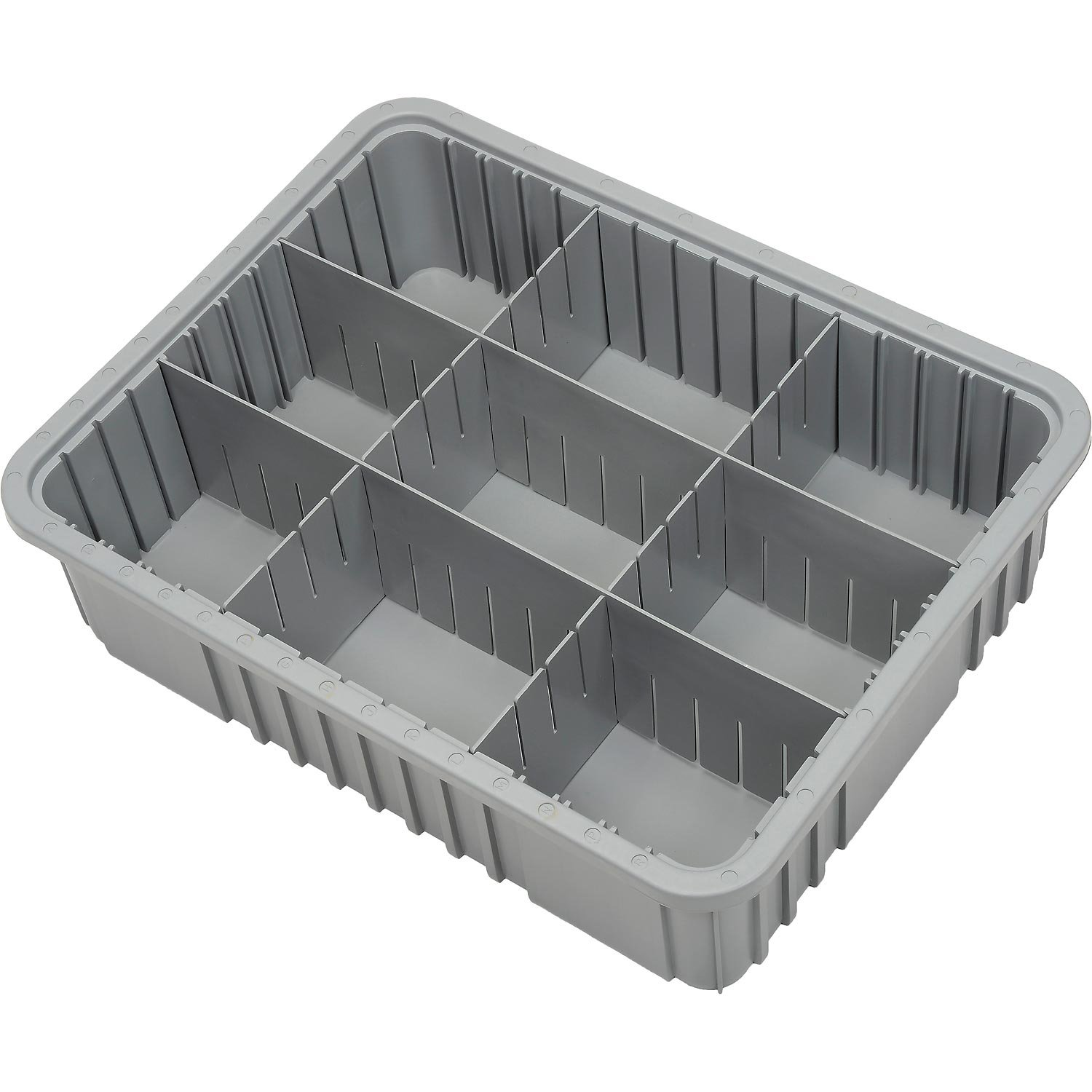 Plastic Dividable Grid Container, 22-1/2''L x 17-1/2''W x 6''H, Gray - Lot of 3