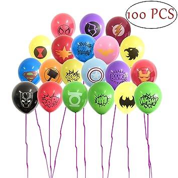 SHANFAA Paquete de 100 Globos de superhéroes, artículos para la Fiesta de superhéroes, la Fiesta de cumpleaños temática de superhéroes favorece Las ...
