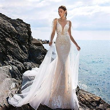 Vestido de novia Vestidos de novia de sirena sin espalda con ...