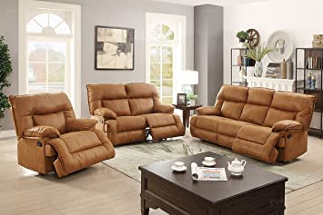 3Pcs Camel Leather Motion Sofa Loveseat Chair Recliner Set For Living Room