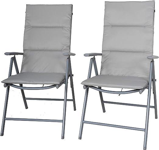 Chicreat, set di sedie pieghevoli da campeggio imbottite, set da 2, colore argentogrigio