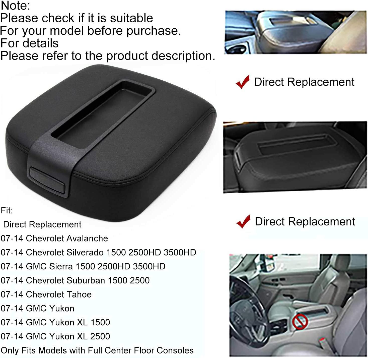 Dasbecan Car Center Console Armrest Cover Lid Leather Compatible with 2007-2014 Chevy Avalanche Silverado Suburban 1500 2500 GMC Yukon Sierra 2500HD 3500HD Beige