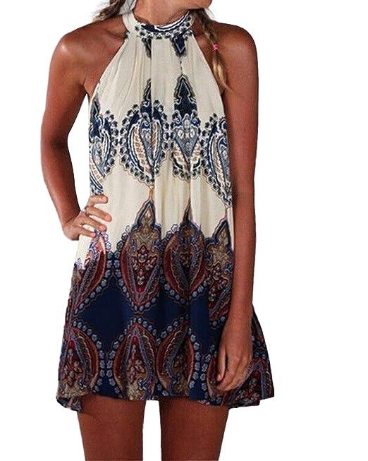 4062a5128f54 Kidsform Womens Boho Floral Beach Mini Dress Sundress Lady Long Sleeve Deep  V-Neck Loose Flowy Evening Party Cocktail Shirt Dress  Amazon.co.uk   Clothing