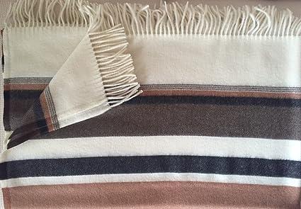 """ropa de ligera manta """"Toscana, ocre marrón blanco y negro Rayas,"""