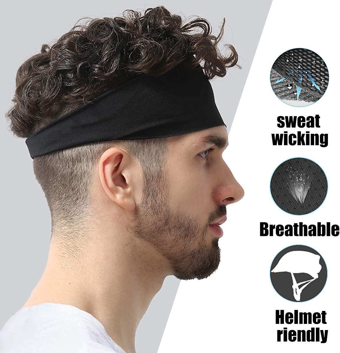 3 Pack 9ABOY Headbands for Men and Women Running Sweat Head Bands for Sports Stretchy Lightweight Breathable Moisture Wicking Hairband Tennis Football Basketball Yoga Fitness Riding Cycling Hiking