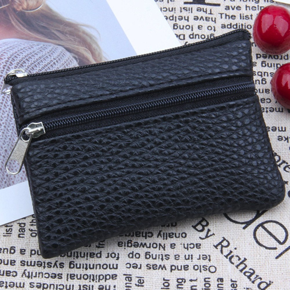 Hadeflia Women Men Coin Purse Unisex Soft Faux Leather Zipper Card Wallet Multi Functional Mini Clutch Purse
