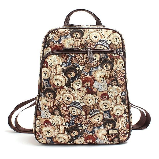 Minetom Duke Oso Retro Lona Backpack Señora Estilo Mochilas Escolares Mochila Escolar Casual Bolsa Viaje Moda