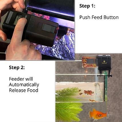 SunGrow - Alimentador automático para peces, con microordenador, cómodo y sencillo de instalar en peceras y acuarios, ideal para un uso diario.