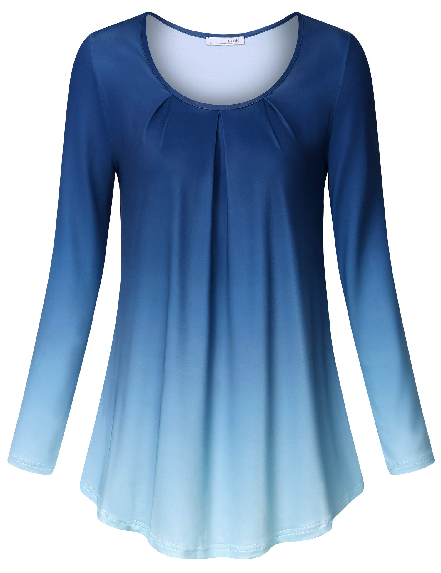 Flared Women Shirts Messic Blue Lady's Long Sleeve Style Tee Shirt Scoop Neck Loose Fit Ombre Pleated Printed Cool Stretchy Tunic Tops XX-Large