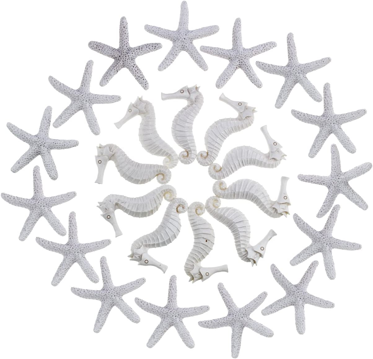 Goodma Resin Pencil Finger Seashells for Crafts, 15 Pieces Starfish and 10 Pieces Seahorse Set for Home Wedding Decor