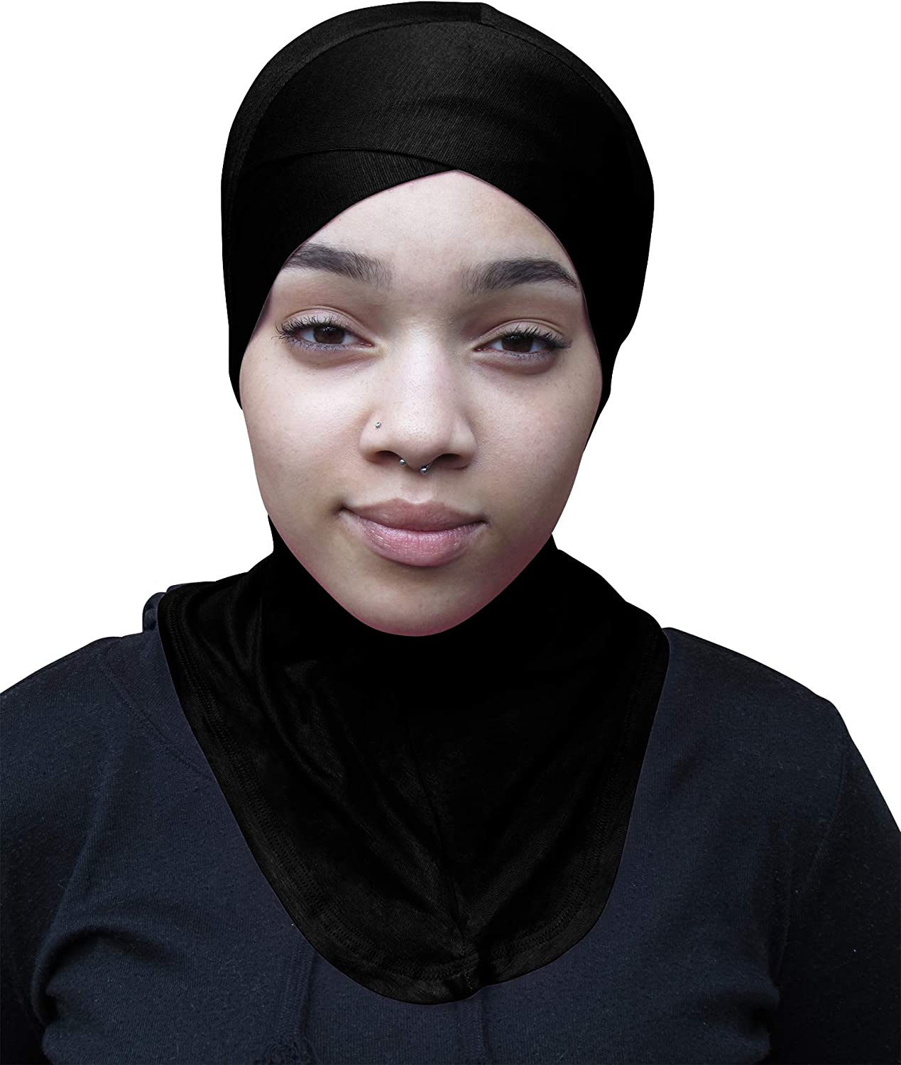 TheHijabStore.com Women's Jersey Criss Cross Ninja Hijab Caps Under Scarf Full Bonnet Inner Islamic Hat-Neck Cover