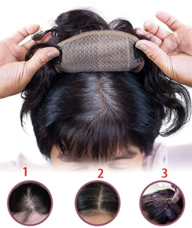 Amazon Com 6 Hair Topper Real Hair Short Curly Clip In Hand Tied Mono Crown Wiglet Hairpieces For Women 12x6cm Medium Curl Off Black Beauty